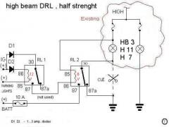 DRL on single filament high beam bulb