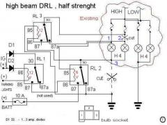 DRL on H4 high beam bulb